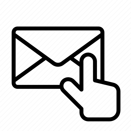 envelope, hand, pointer, touch icon