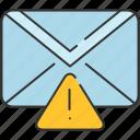 alert, communication, email, envelope, message, warning icon