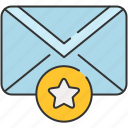 bookmark, email, envelope, message, save, star icon