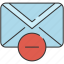 communication, delete, email, envelope, message, remove icon