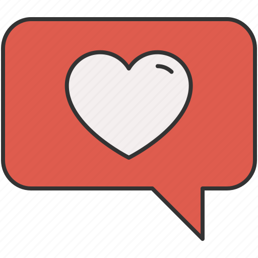 chat, communication, favourite, heart, love, message, text icon