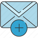 add, communication, email, envelope, message, new icon