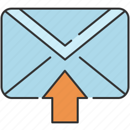 arrow, email, envelope, message, receive, up icon