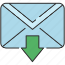 arrow, down, email, envelope, message, send icon