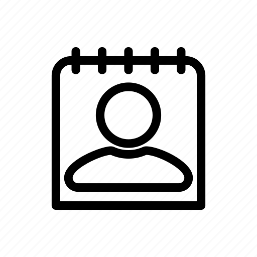 contact, contact list, line, messenger, outline icon