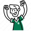 soccer, mexico, green, team, excited, emojidf, football icon