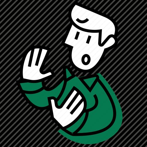 cancel, emojidf, evade, no, stop, worried, worry icon