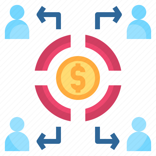 allocating, beneficiary, commission, partner, share icon