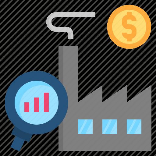 analysis, economic, factory, microeconomics, profit icon