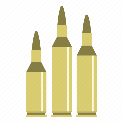ammo, ammunition, army, automatic, bullet, metal, military icon