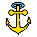 anchor, anchors, navy, sail, sailing, transportation icon