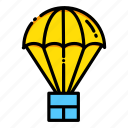 boxes, delivery, package, packing, parachute, shipping, supplies icon
