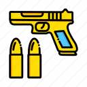bullets, gun, miscellaneous, pistol, war, weapon icon