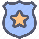 badge, id, insignia, medal, officer, police, star icon