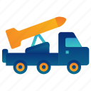 aircraft, army, military, rocket, truck, war, weapon icon
