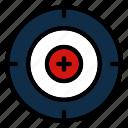 aim, goal, shooting, sports, target icon