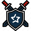attack, battle, defend, shield, swords icon