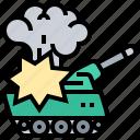 battle, explosion, tank, vehicle, warfare icon