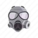 cartoon, chemical, defense, gas, mask, military, protection icon