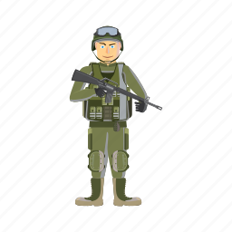 army, cartoon, force, military, soldier, war, weapons icon