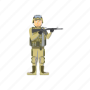 army, cartoon, force, infantryman, military, soldier, weapons icon