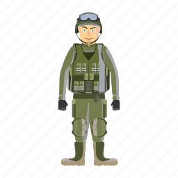 armor, army, body, cartoon, force, military, soldier icon