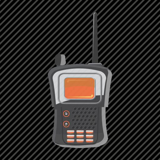 cartoon, military, mobile, portable, radio, transmitter, wave icon