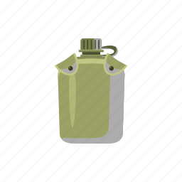 cartoon, clean, container, drink, flask, military, plastic icon