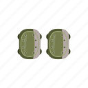 cartoon, equipment, knee, military, pads, safety, support icon