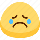 cry, emoji, emotion, expression, face, feeling icon