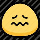 emoji, emotion, expression, face, feeling, nervous