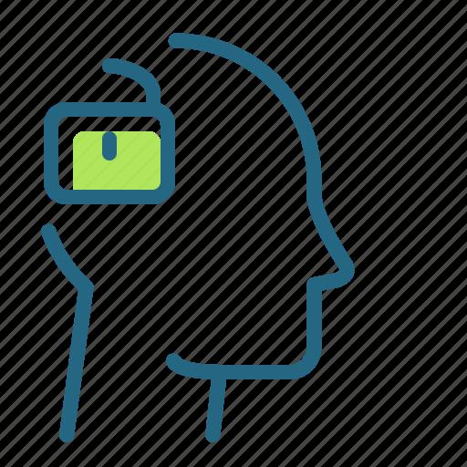 mind, open lock, permission, sociability icon
