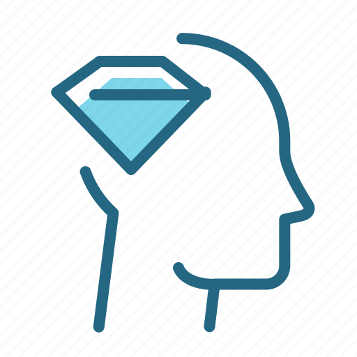 crystal, diamond, mind, spirit icon
