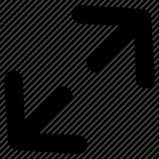 arrows, diagonal, increase, sign, spread icon