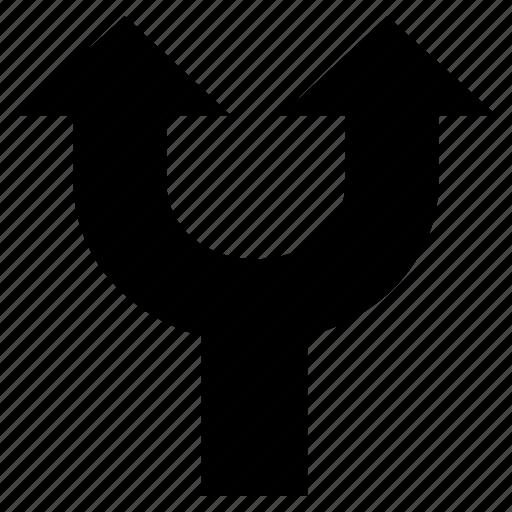 arrow, arrow fork, direction, indicator, upward icon