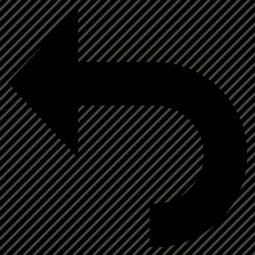 arrow, direction, indicator, left, pointer, u-turn icon