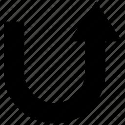arrow, pointer, turning arrow, u-turn, upright, upward icon