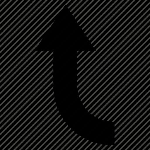 arrow, curve, up, up left, web arrow icon