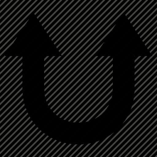 arrow, double, two head arrow, u- shaped arrow, upward icon