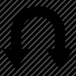 arrow, double, downward, two head arrow, u- shaped arrow icon