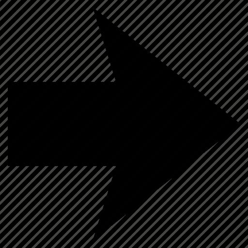 arrow, direction, forward, forwarding arrow, right, sign icon