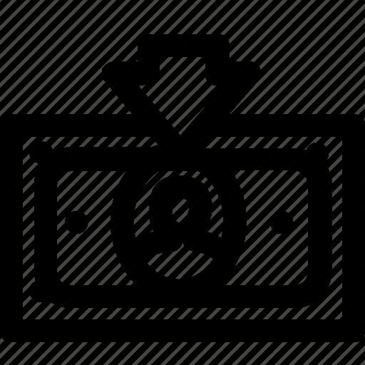 arrow, cash, down, finance, money, payment, receive icon