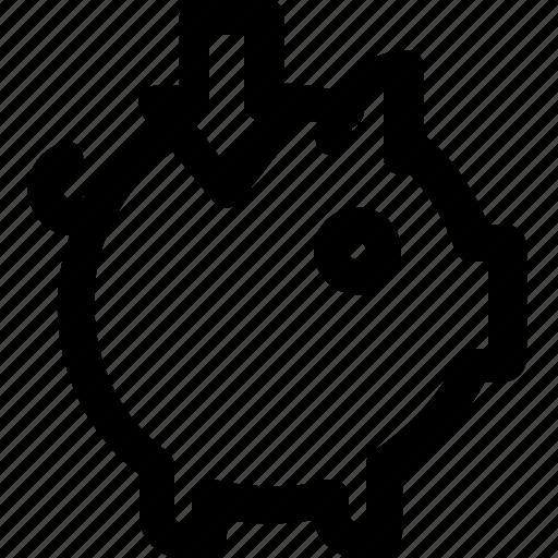 arrow, bank, down, finance, insert, piggy, savings icon