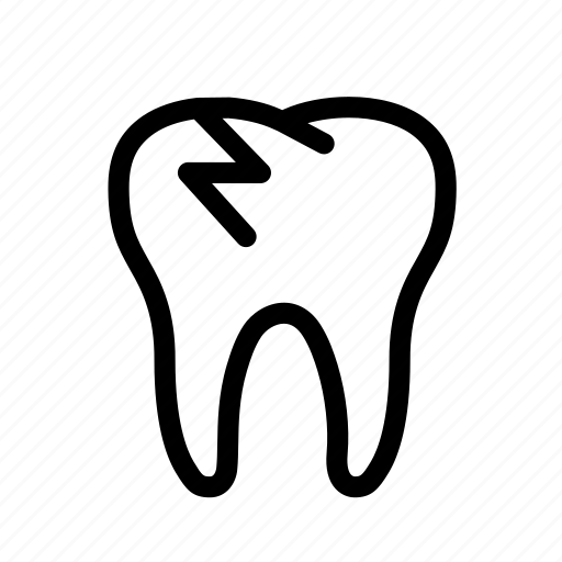 broken, broken tooth, dental, dentist, dentistry, tooth, treatment icon
