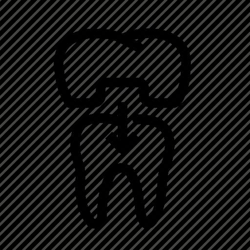 dental, dental crown, dentist, dentistry, teeth, tooth, treatment icon