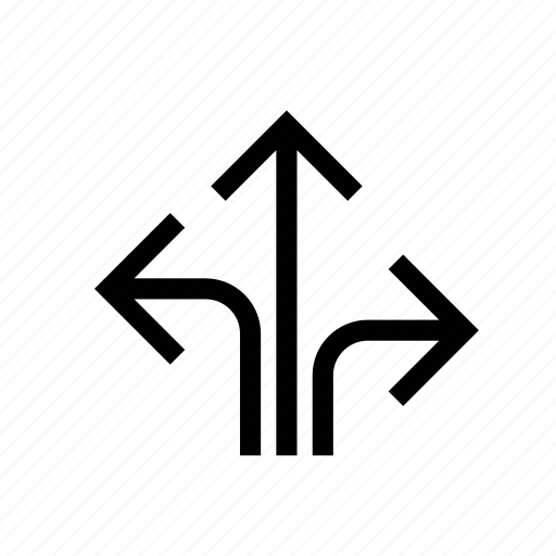 arrow, junction, left, navigation, right, road junctions, sign icon
