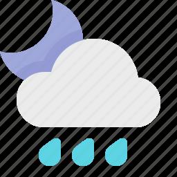 heavy, material design, night, rain, weather icon