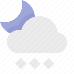 heavy, material design, night, snow, weather icon