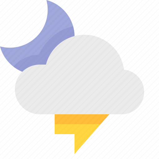 material design, night, thunderstorm, weather icon