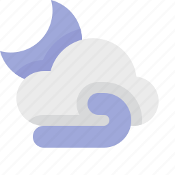 material design, night, weather, wind icon